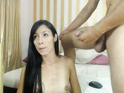 Skinny chick gets a big dick in her anal hole